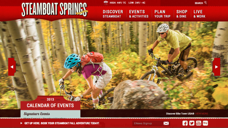 Homepage design Steamboat Chamber